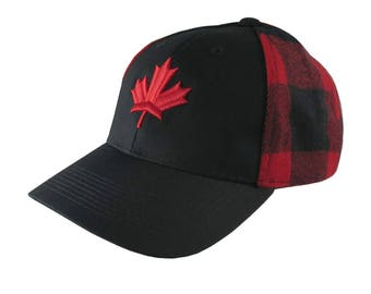 Red Canadian Maple Leaf 3D Puff Embroidery on an All Season Adjustable Black and Buffalo Check Red Plaid Full Fit Classic Baseball Cap