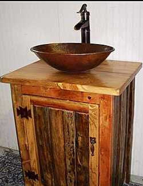 Rustic LOG Bathroom Vanity - MS1373-25 - Pump Faucet - 25
