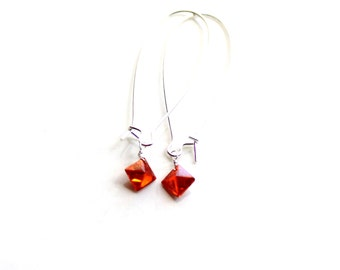 cubic zirconia diamond earrings / orange industrial sparkling earrings  FREE domestic SHIPPING sterling wrapped hyacinth fire gift