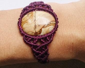 Macrame bracelet, hippie bracelet, jasper bracelet, gemstone bracelet, jasper Jewelry, Macrame jewelry, boho, gift for her, macrium, healing stones