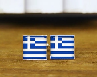 greece flag cufflinks, custom national flag, greece cufflinks, greece, custom wedding cufflinks, round, square cufflinks, tie clips, or set