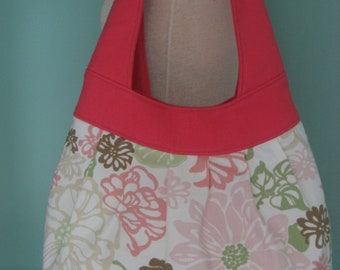Pink, Large Floral Print, Birdie Sling, Extra Large Hobo, Shoulder BAG, Diaper BAG, Large Purse, School BAG, Summer Bag