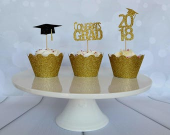 Graduation Cupcake Toppers, Graduation Party Decor, Graduation 2018,  Congrats Grad Topper, Grad 2018, Class of 2018,  Graduation Toppers