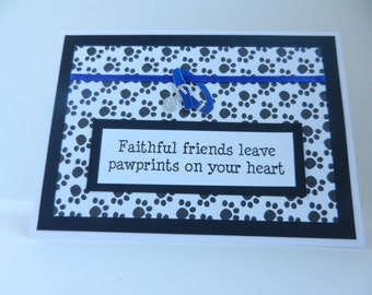 Dog or Cat Sympathy Handmade Greeting Card with paw prints -blue or red collar with paw print tag