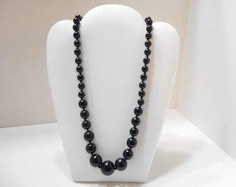"Vintage 18"" Black Plastic Beaded Necklace (1236) 7mm-14mm"