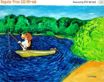 beagle art - beagle art PRINT, beagle, dog, dog art, fishing, modern, folk, gift, REPRODUCTION, beagle art - beagle gifts