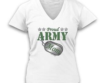 Proud Army Mom Ladies V-Neck Shirt