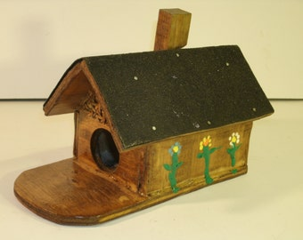 Vintage Birdhouse Wooden Little Cabin Bird House Tar Paper Roof Chalet Style Lattice Hand Painted Flowers Chimney Small Wood Miniature Fairy