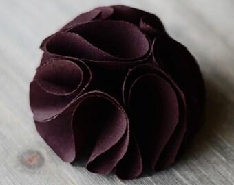 eggplant dark purple / wholesale shabby chic fabric flowers / wedding flowers / embellishments appliques diy supplies / headband flowers