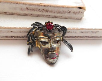 Vintage Small Silver Tone Red Rhinestone Tragedy Theater Mask Brooch Pin Q18