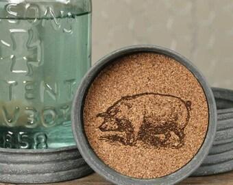 Pig Mason Jar Lid Coasters