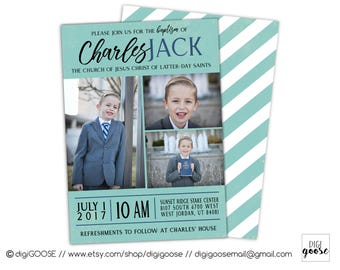 SAME DAY // LDS Baptism Invitations // Lds Boy Baptism Invitation // Christening Invite, Digital Baptism Invitation, Printable  Announcement