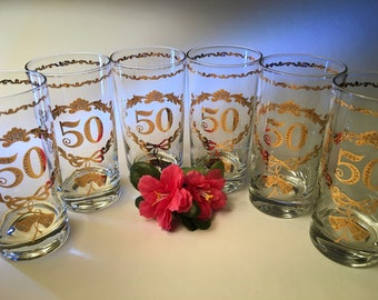 One set of six vintage 50th Anniversary glasses with glistening gold wedding bells