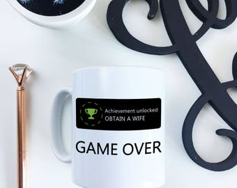 Newly Engaged Funny GAMING White Ceramic Mug Gift for him - engagement gift
