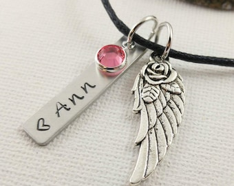 Silver Angel Wing Necklace~ Custom Name Memorial Necklace~ Loss Of Loved One~ Funeral Gift~ Sympathy Gift~