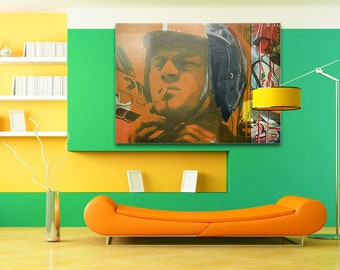 Steve McQueen Le Mans Porsche 911 StreetArt/Loft/Decorative/Painting/WoodPrint/Poster/XXLCanvas/Canvas/StreetArt/Hollywood/Bedroom/Female