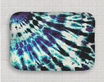 Tie Dye Bath Mat -  Kitchen Mat - Black Purple Blue - Memory Foam - Fleece Top - Bathroom Mat