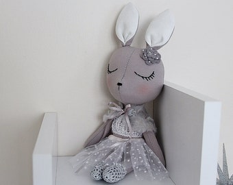 BUNNY FABRIC DOLL - Petite - Gray - Simple and Chic Ballerina Theme - Heirloom Cloth Doll - Limited