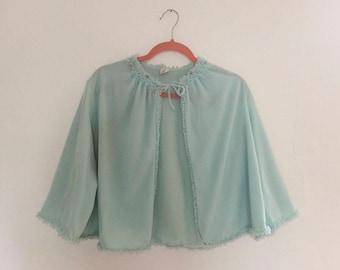 1960s Powder Blue Bed Jacket