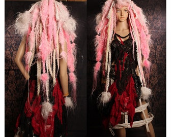 Tattered Pink Wig, pastel braids, pale blond dread locks, Wild Bohemain Wasteland wig, Halloween Costume, Cosplay Hair, Tribal Belly Dance
