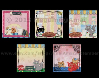 """5 designs - 3x3"""" Kitties & Chocolate Chip Cookies Sticky Note Pad. cat kitten animal coffee tea pot cup time bath sweets art picture floral"""