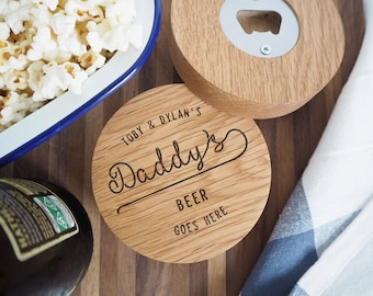Personalised oak coaster and Bottle opener  - Wooden bottle opener - Natural drinks mat - Engraved coaster - Father's Day Custom coaster