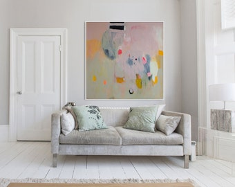 "Large beige, pink and yellow abstract Print of modern painting, expressionist print ""Out of Her Loop 6"""