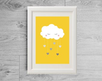 Yellow and gray nursery print with cloud and hearts, Gray and yellow nursery ideas, Cute nursery print, Sweet print for kids, Pastel print