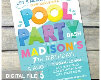 "Pool Party Birthday Invitation Summer Swim Splash Boy or Girl - DIGITAL Printable Invite - 5"" x 7"""