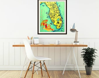 SUNNY FLORIDA map art, beach home art, vintage Florida Gift, travel art, travel gift, wanderlust gift, retro Florida Art, travel theme decor