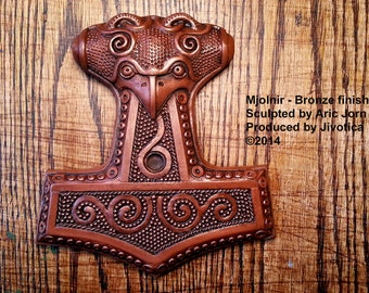 Mjolnir: Thor's Hammer with COPPER finish. Cold cast metal Norse/Viking wall plaque