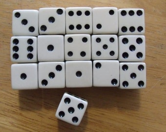 Vintage Game Dice Black and White set of 16