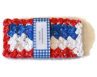 Fancy Face Cloth, Red White and Blue, Spa Washcloth, Crocheted Wash Cloth, Spa Facewasher