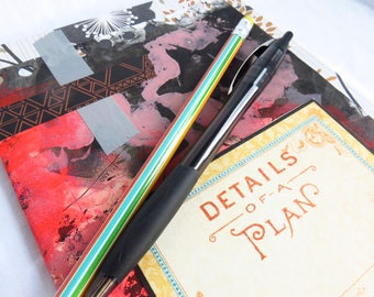Altered Ikea #3 - Altered journal - embellished journal, blank pages, stars, mixed media, art journal, sketchbook, unruled, geometric mess