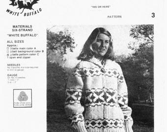 White Buffalo 3  Canadian Cowichan Native Sweater Knitting Pattern Digital PDF