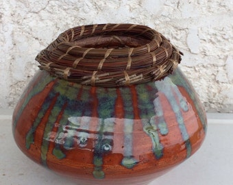 Pottery/Pine Needle Coiling bowl