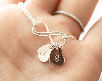 Personalized Infinity Bracelet, Initial Bracelet, Sterling Silver Infinity Bracelet, Mother's Heart Bracelet, Bridesmaids Jewelry