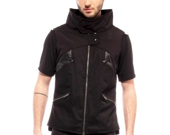 Cyberpunk mens vest with faux leather details by Plastik Wrap.