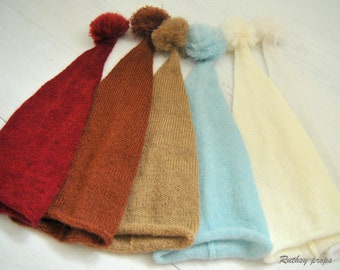 Sleep Hat, Night Cap, Baby Sleep Hat, Knotted Hat, Newborn Night Cap, Newborn photo prop, Pixie hat, Newborn Hat 19 Colour, 2 Models