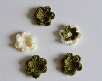 5 Khaki and Cream Double Centered Crochet Flowers  Applique Motif Embellishments