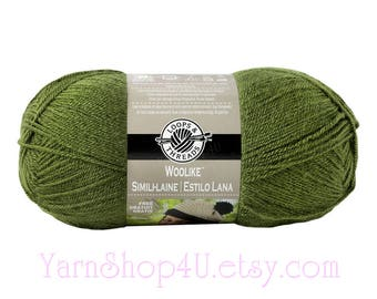OLIVE Woolike Loops and Threads Yarn. 85% Acrylic / 15 Nylon. A Super Fine Fingering Weight, Sock yarn is smooth and soft. 3.5oz 678 yd <