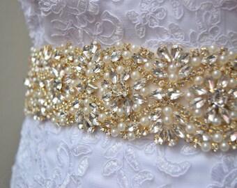 Gold Rhinestone Bridal Belt- Gold Bridal Sash -Rhinestone Belt -Gold and Pearl Wedding Belt -Wedding Belt - Thick Bridal Belt - EYM B020