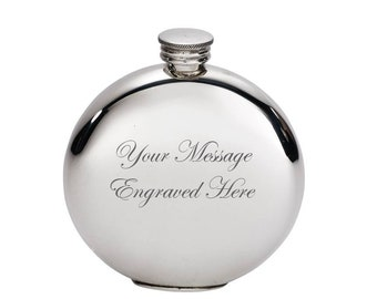 Personalised 6oz Plain Round Pewter Hip Flask Customised Engraved Message