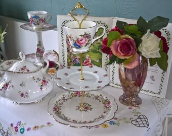 Vintage China Three Tier China Cake Stand English Roses Shabby Chic Wedding Display Cupcakes Table Center Easter Tea Party Tearoom Dresser