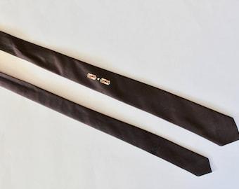 Vintage 1950s Screen Printed Pins Necktie with Geometric Design- Dark Brown