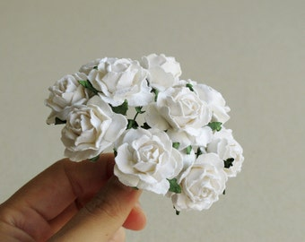 25mm White Paper Peonies - 10 pieces of mulberry paper flowers with wire stems [152-e]