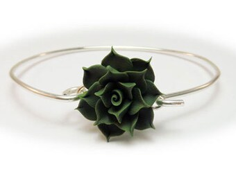 Succulent Bracelet Sterling Silver Bangle - Succulent Jewelry