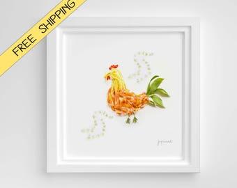 Farmhouse decor ROOSTER kitchen wall art Nursery print farm animals art orange decor - chicken or hen - Made with Flowers - Prints animals