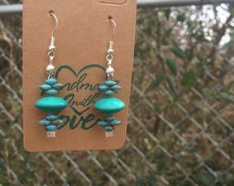 Turquoise earrings, turquoise jewelry, genuine Turquoise jewelry, mohave turquoise, gift for her, boho earrings, bohemian style, simple
