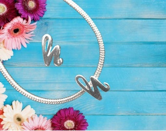 Lowercase 'h' Sterling Silver Charm Necklace With Gift Box
